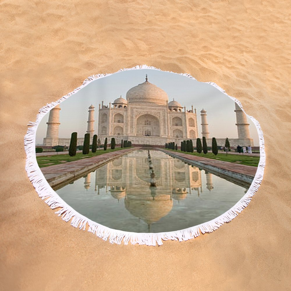 Pixels Round Beach Towel With Tassels featuring ''Reflection Of A Mausoleum In Water, Taj'' by Pixels