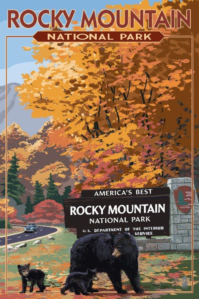 良質  ロッキーマウンテン国立公園 36 x – ブラックBear Print andカブスat entrance Canvas Tote Bag LANT-85028-TT B078PQ74CW 24 x 36 Giclee Print 24 x 36 Giclee Print, はぴキャラ:4dbe0019 --- vezam.lt