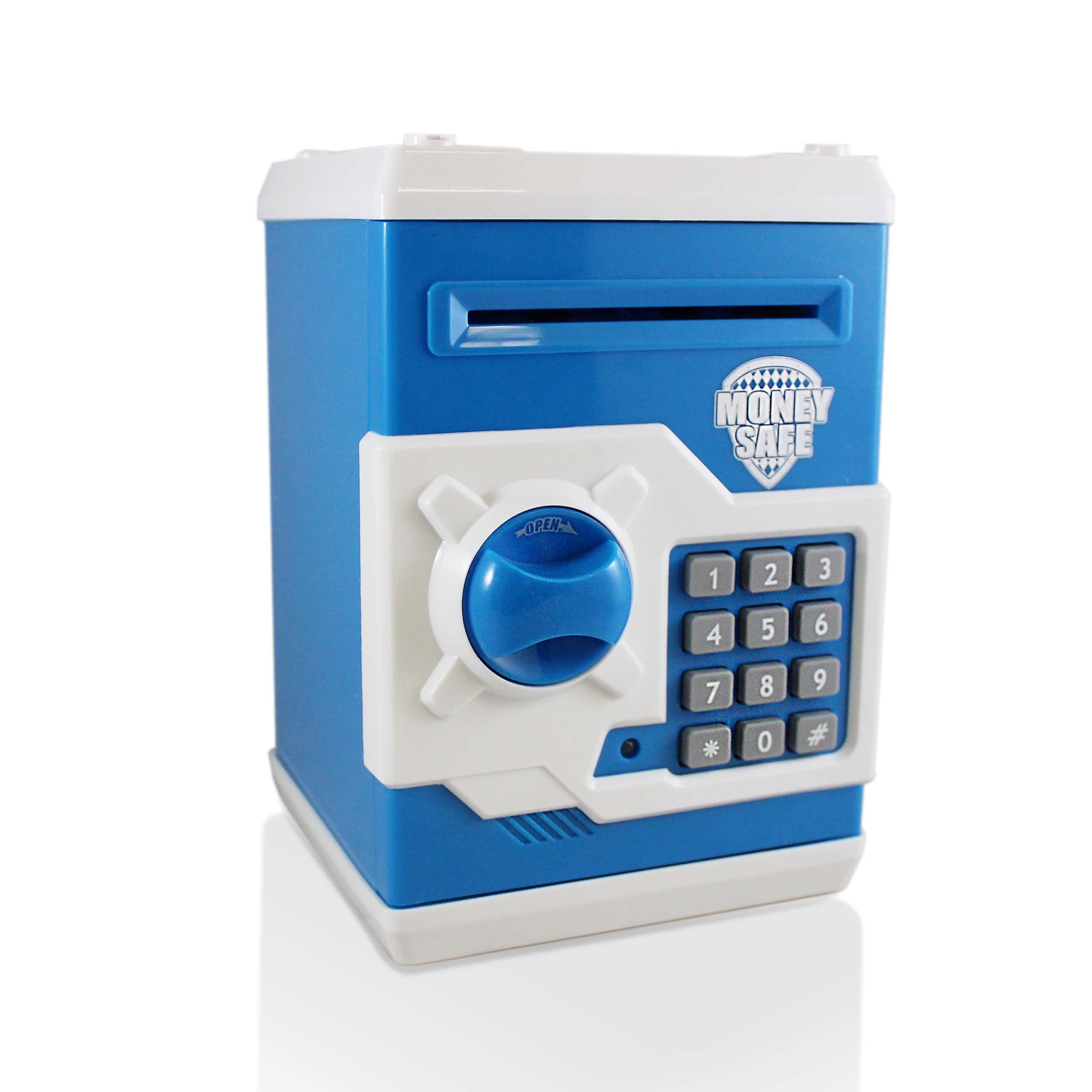 Dark Blue Safe Coin Bank For Kids - Authentic ATM Money Saver Keeps Cash, Toys, and Jewelry Inside Safe Inside - Auto Insert Bills and Electronic Password - Cool Piggy Bank Makes A Great Birthday Gift