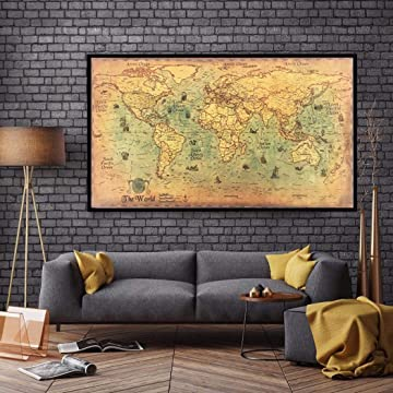 Bluefringe Ancient Map of The World Antique Style Map Mural Giant Poster(39inchx19inch / 100cmx50cm)