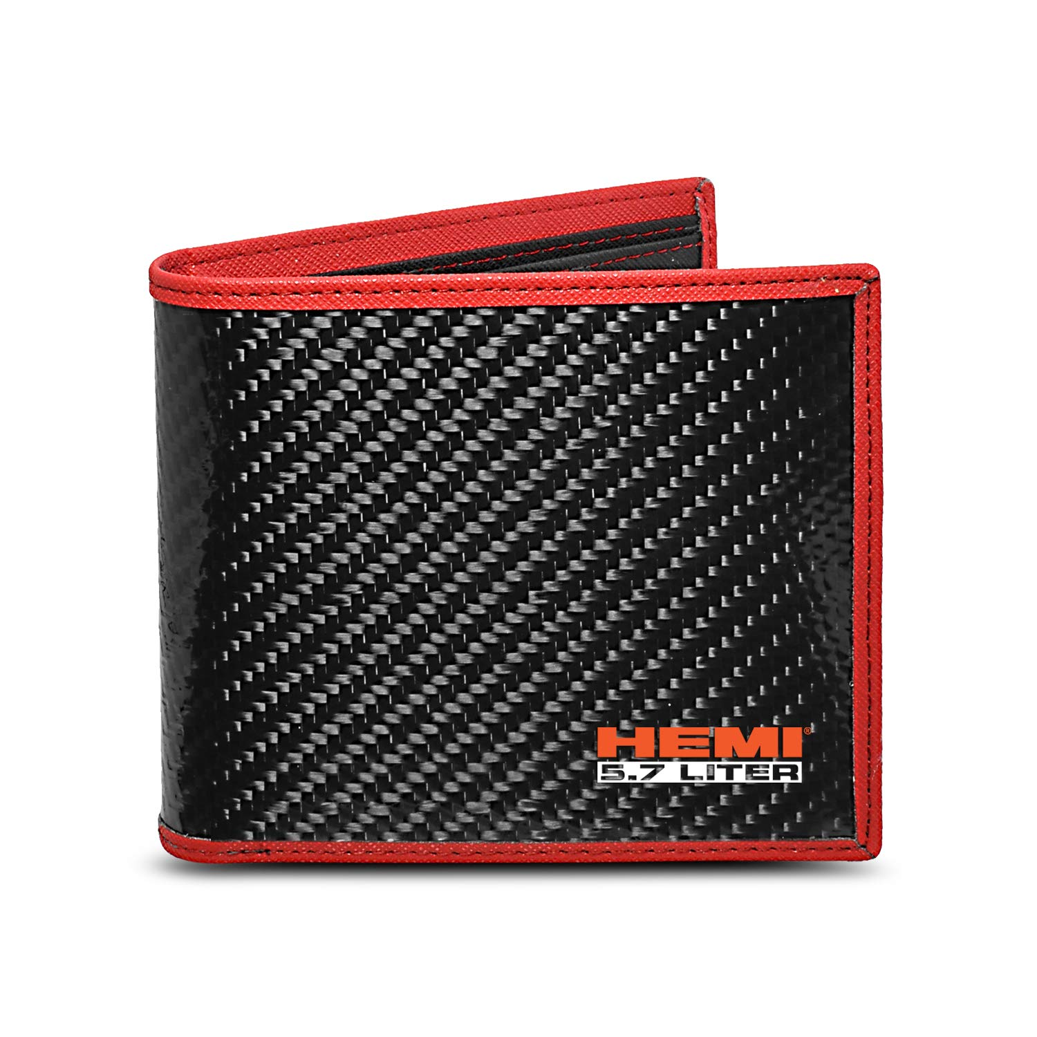 5.7 Liter HEMI Real Premium Black Carbon Fiber Wallet with Red Stitched Edge Bi-fold Wallet