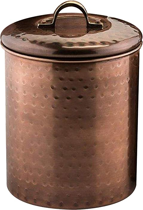 NuSteel Hammered 1 QT Stainless Steel, Beautiful Food Storage Container for Kitchen Counter, Tea, Sugar, Coffee, Caddy, Flour Canister with Rubber Seal lid, Copper Antique