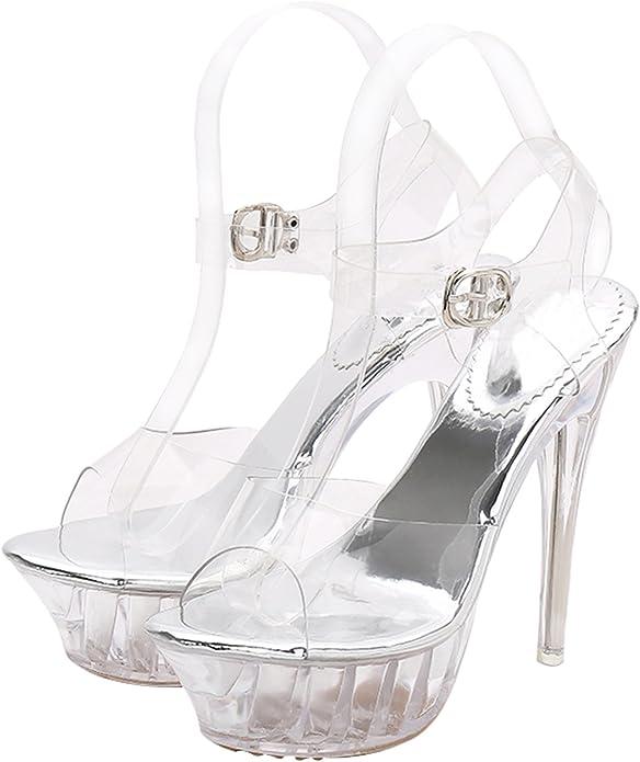 Jiu du Womens Heeled Sandals Cut Out Strappy Peep Toe Sling Back Stiletto High Heel Slipper Shoes