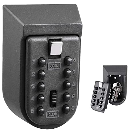 e21d289591e2 Wall Mount Key Lock Box,fiveaccy Safe Key Box with 10-Digit Push-Button  Combination,Exterior Waterproof Cover for Indoor Outdoor Home Garage and  Holds ...