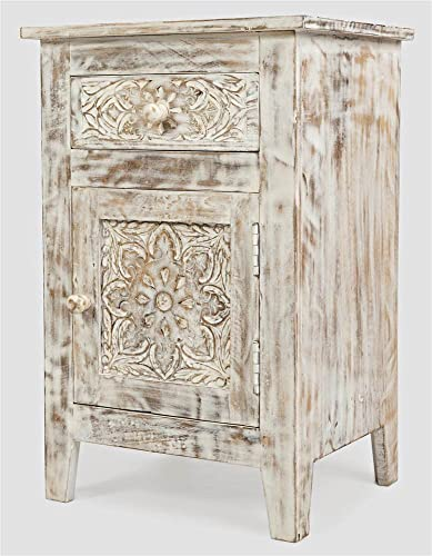 Jofran Global Archive Hand Carved Accent Table, Weathered White