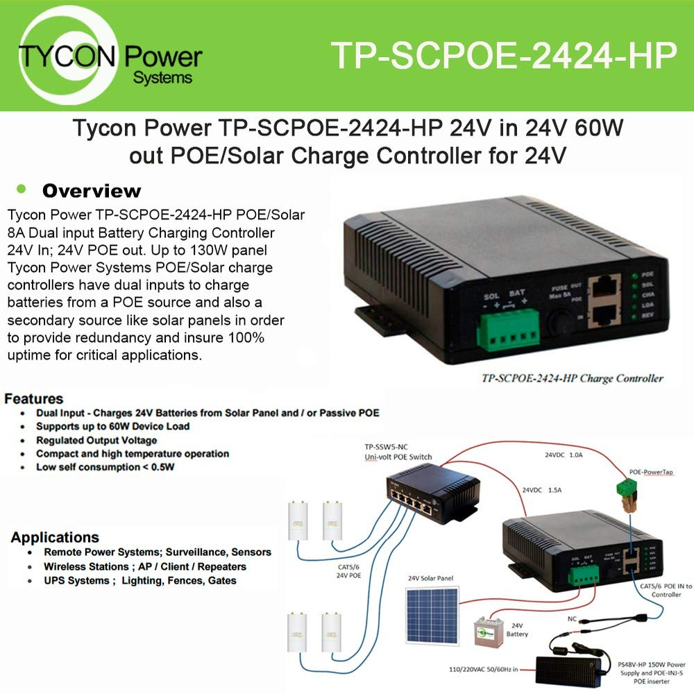 24V 8A PWM Solar Battery Charger w/ 24V 24W Passive PoE Out and 24V 1.5A Aux Out, Accepts 36-57V 2.6A Passive PoE in for Aux Batt Chrg, PoE Pinout: 4,5V+; 7,8V-, Shielded, Incl DIN Rail Mt Kit, LVD by Tycon Systems