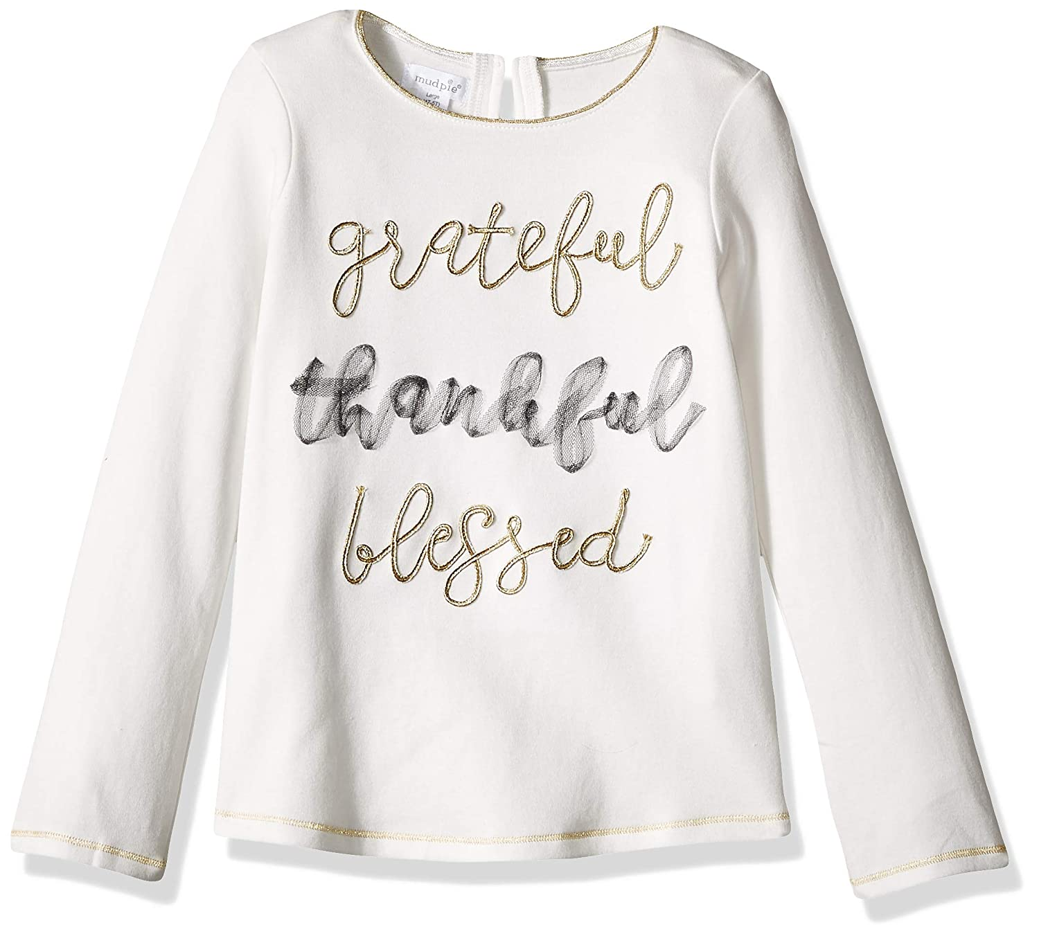 Mud Pie Baby Girls Little Grateful Thankful Blessed Long Sleeve T-Shirt