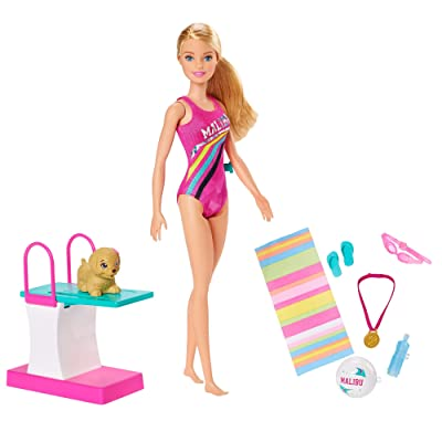 Barbie Dreamhouse Adventures Swim 'n Dive Doll, 11.5-Inch, in Swimwear, with Swimming Feature, Diving Board and Puppy, Gift for 3 to 7 Year Olds: Toys & Games