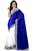 Clickedia Women's Velvet & Net Saree With Blouse Piece (Blue & White)