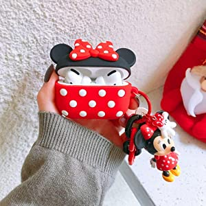Compatible with Airpods Pro Case,Disney Mickey Minnie Mouse Kawaii Cute 3D Cartoon Airpods Pro Silicone Cover for Girls Kids Teens Boys with Cartoon Pendant (Red)