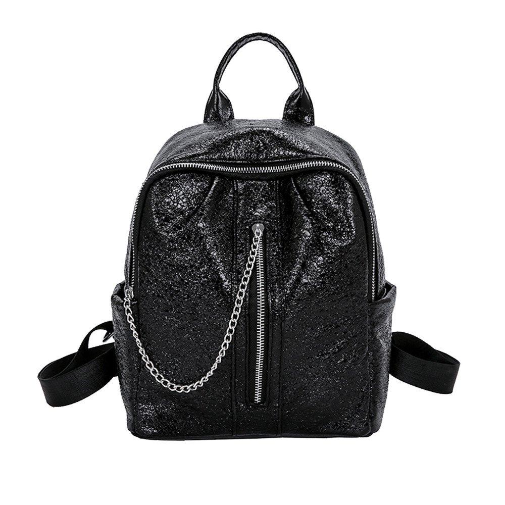 Shoulder Bags, Euone Women's Shinning Glitter Bling Backpack Ladies Fashion School Sequins Travel Satchel Bag Backpack Bag (Black)