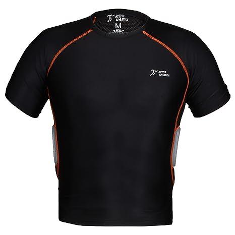 Active Athletics Three Pad Corta para Camiseta de fútbol con Aletas de & Columna Vertebral Acolchado