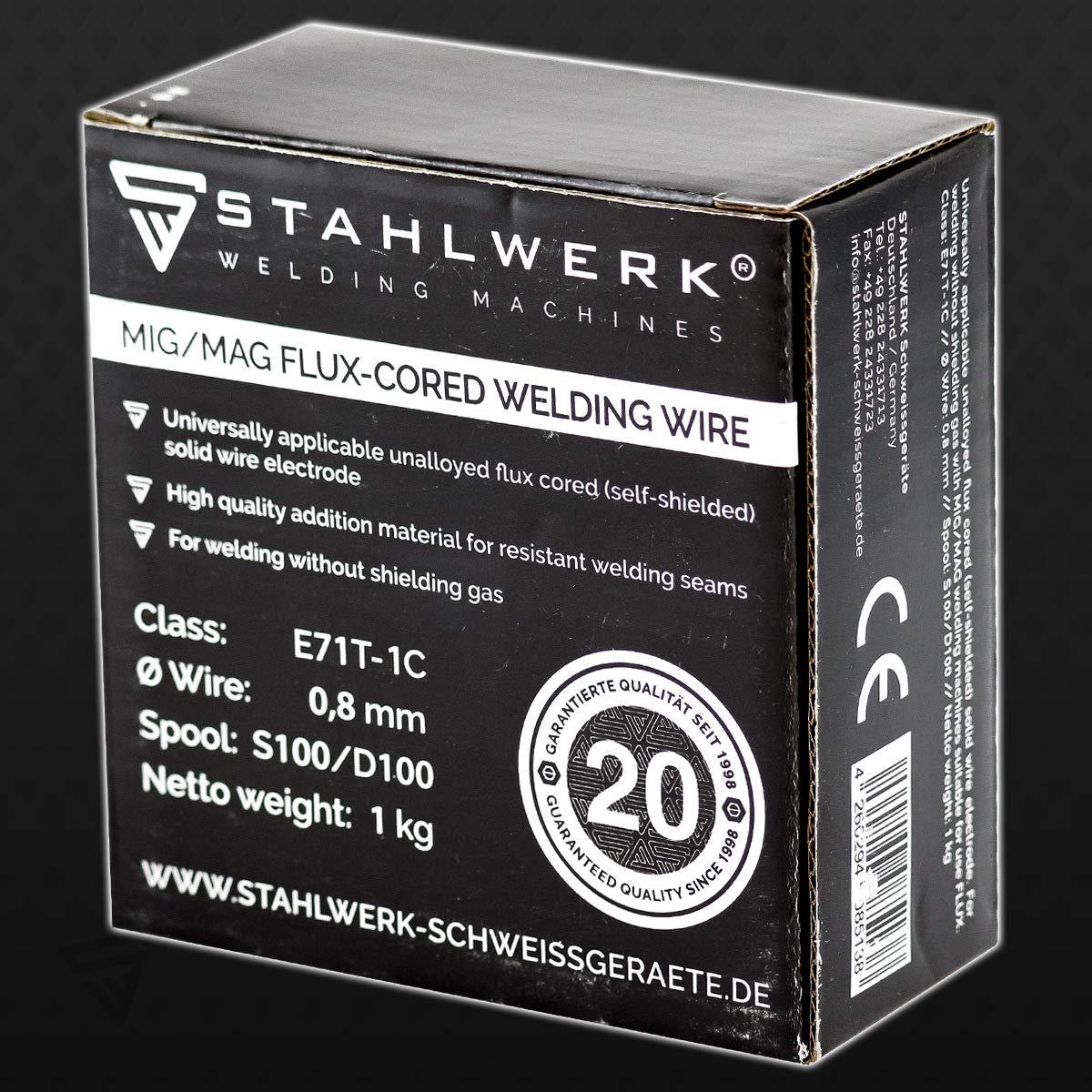 uso universal en rollo de 1 kg D100 con mandril de 16 mm Alambre de acero MIG//MAG juego de 3 unidades di/ámetro de 0,8 mm alambre de soldadura Flux E71T-1C