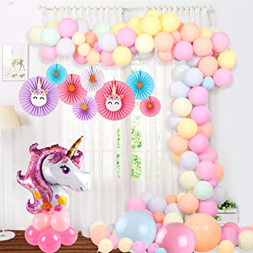 Pink Garland Balloons Arch Decorations , Unicorn Garland Balloons Kit for  Girl