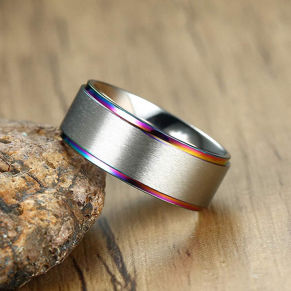 38be412b4fc91 Men Rings Rainbow Anniversary Rings Wedding Bands Stainless Steel ...