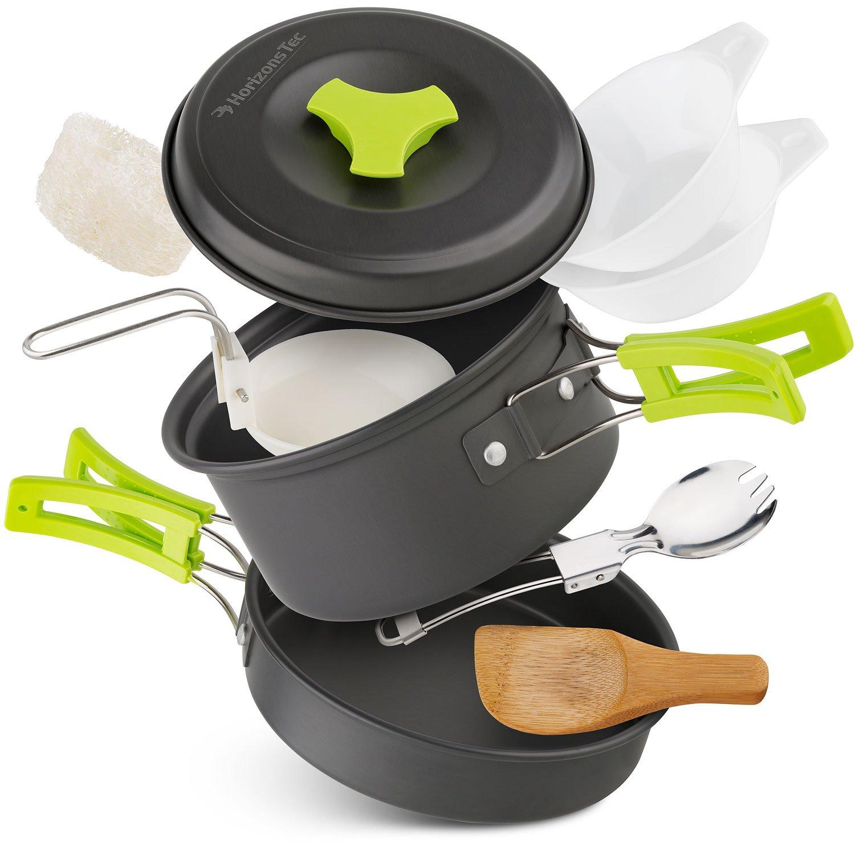 Horizons Tec Mess Kit Camping Gear Cookware equipment Lightweight & Collapsible Anodized Aluminum Pots & Pans Backpacking Spork, Bowls, Foldable Spoon, Wooden Spatula & Bonus 15 Recipes Ebook