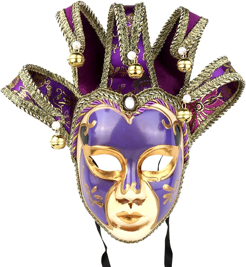 YU FENG Vintage Jolly Joker Venetian Masquerade Mask Costume Halloween Cosplay Mask for Party,Ball Prom,Mardi Gras,Wall Decoration (Purple)