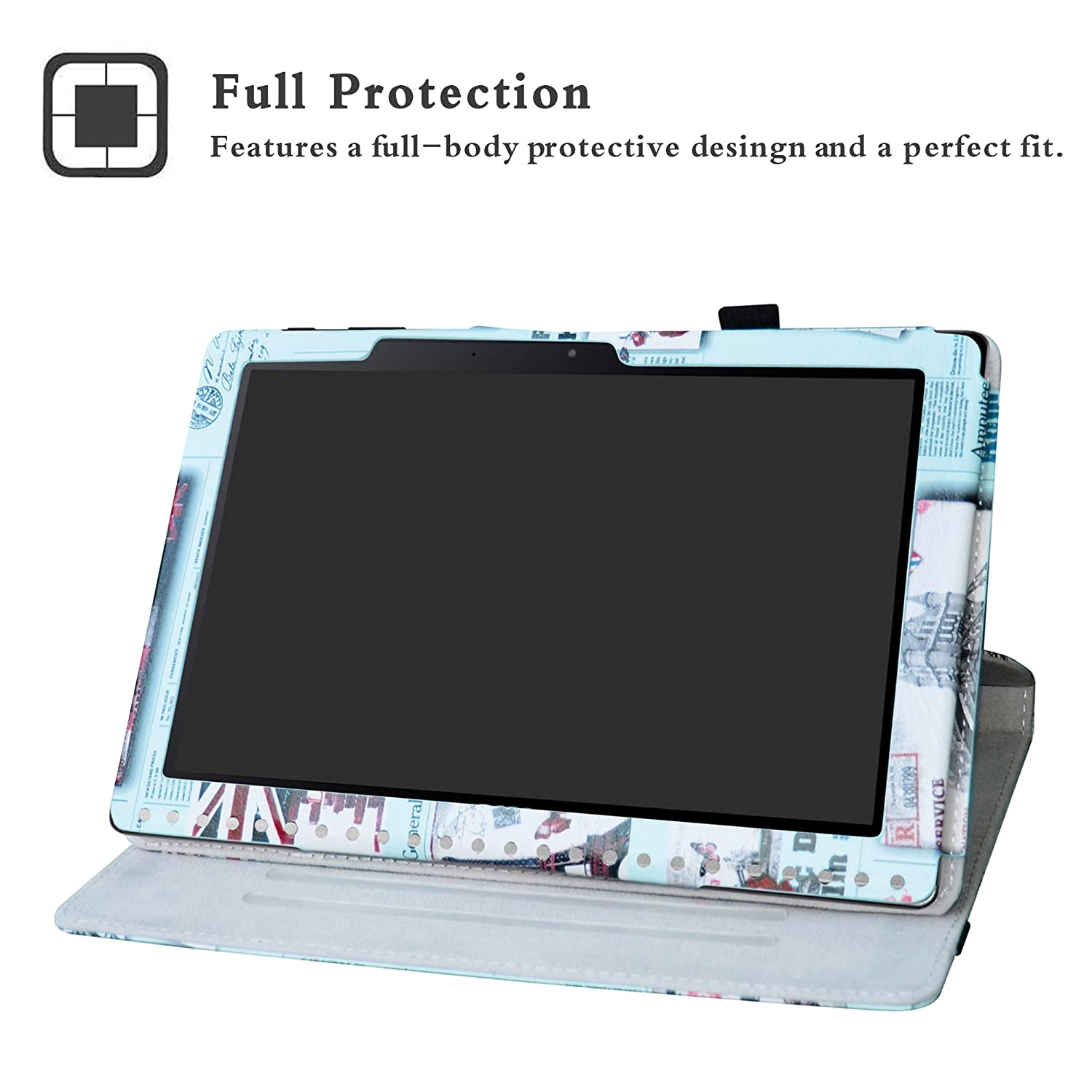 Map White Acer Iconia One 10 B3-A50 Case,Labanema Premium PU Leather 360 Degree Rotating Flip Cover for Acer Iconia One 10 B3-A50 10.1 inch 2018 Tablet