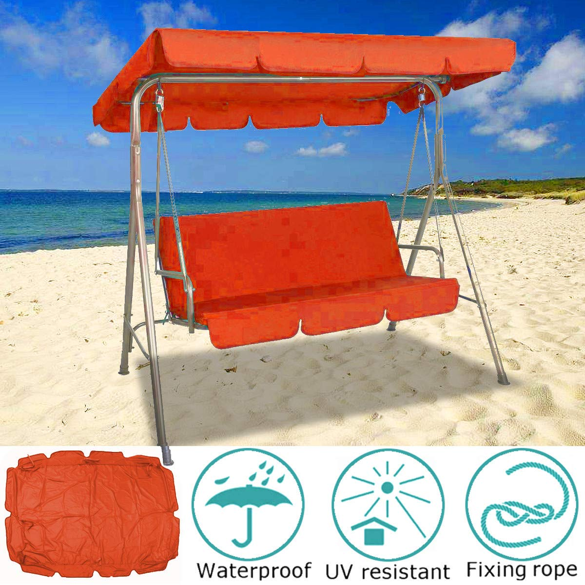 KING DO WAY Garden Outdoor Canopy Chair Swing Chair Rainproof UV Resistant 3 Seater Protective Hammock Cover Orange 200 * 145cm