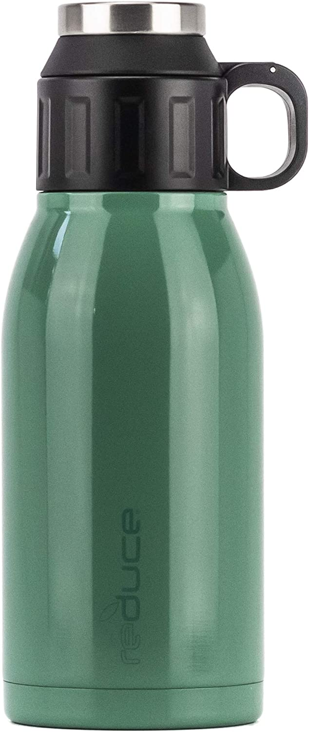 REDUCE 32oz Dual-Wall Vacuum Insulated Stainless Steel Canteen and Growler with Leak-Proof Lid - for Hot & Cold Beverages, Great for Camping, Tailgating & Parties- Opaque Gloss Cacti Green