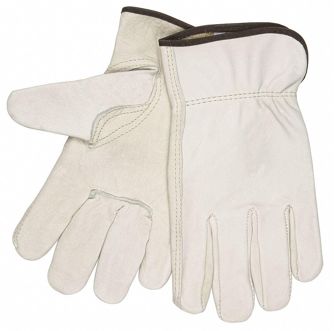 Cowhide Leather Work Gloves, Slip-On Cuff, Cream, Glove Size: M