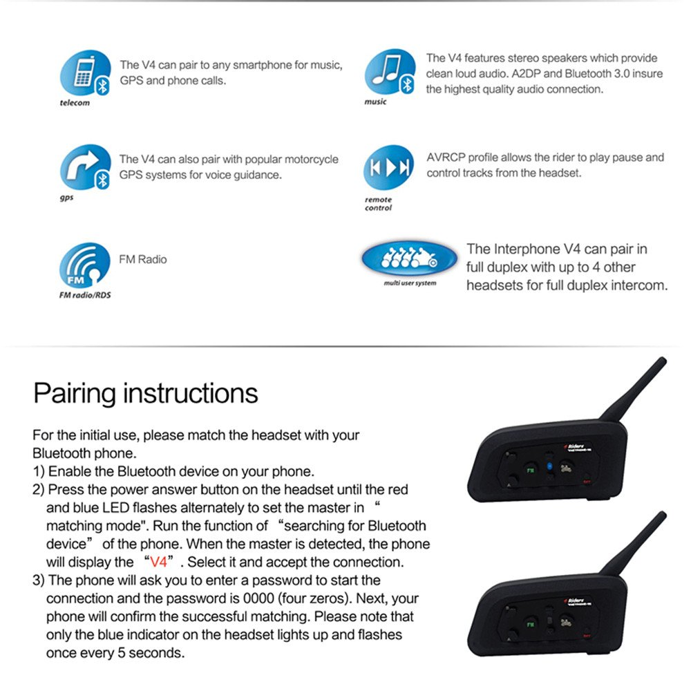Multi Wireless communication support FM Great for Snowmobile Skiing Riding 1 PC Vnetphone V4 Bluetooth Intercom Motorcycle 4 Riders Helmet Waterproof Interphone 1200M Range