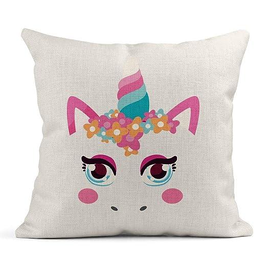 Kinhevao Cojín Rosa Animal Lindo Unicornio Bebé Hermoso Cree ...