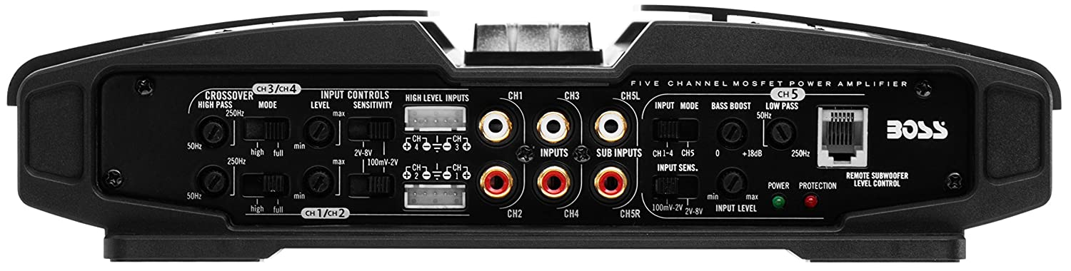 Class A//B 2-8 Ohm Stable 5 Channel Amplifier with Remote Subwoofer Level Control BOSS AUDIO PV3700 Phantom 3700-Watt Full Range