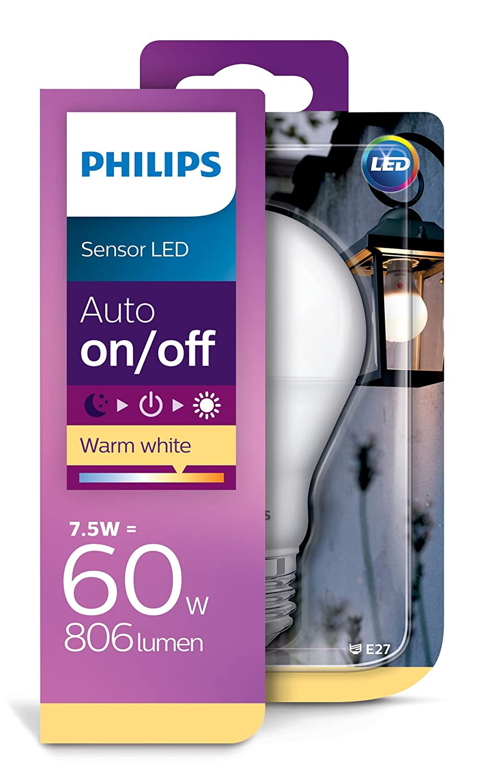 Philips 8718696739402 Bombilla LED con Sensor E27, 7.5 W, Blanco: Amazon.es: Iluminación
