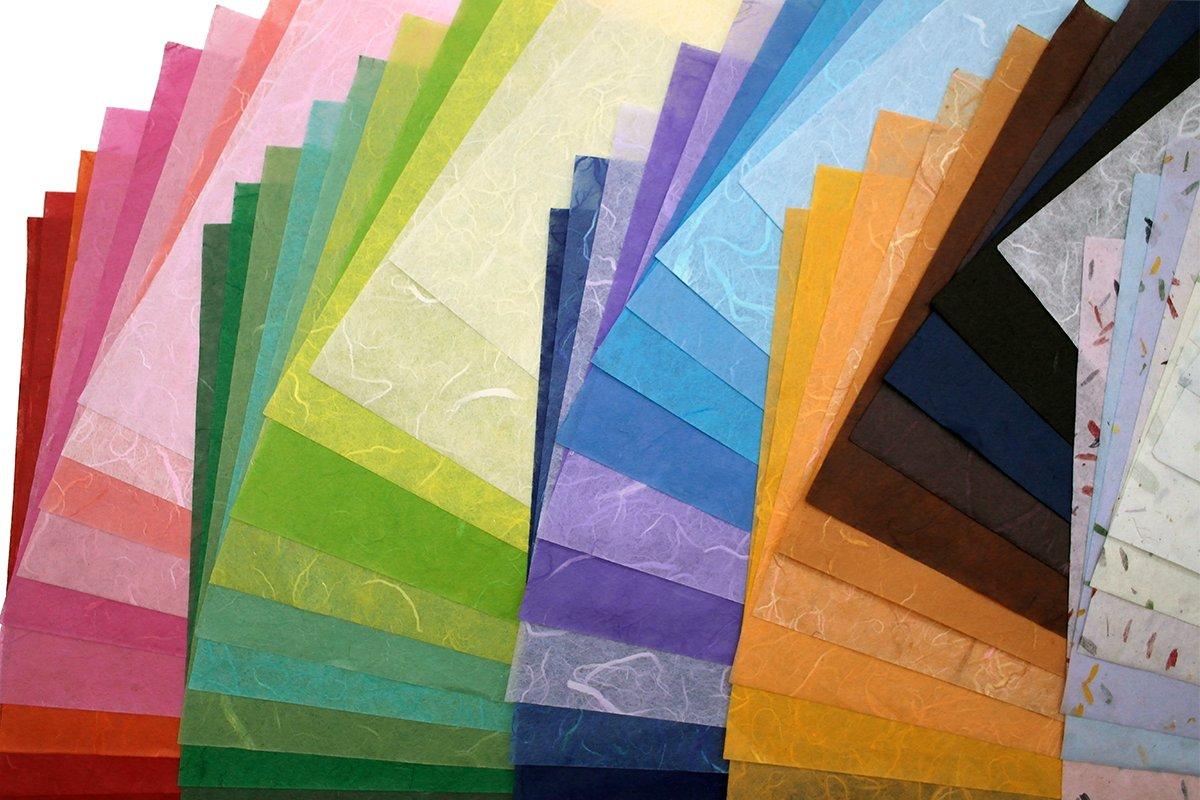 60 fogli di carta di gelso (washi) con motivo, realizzata a mano, per origami, progetti creativi MulberryPaperStock