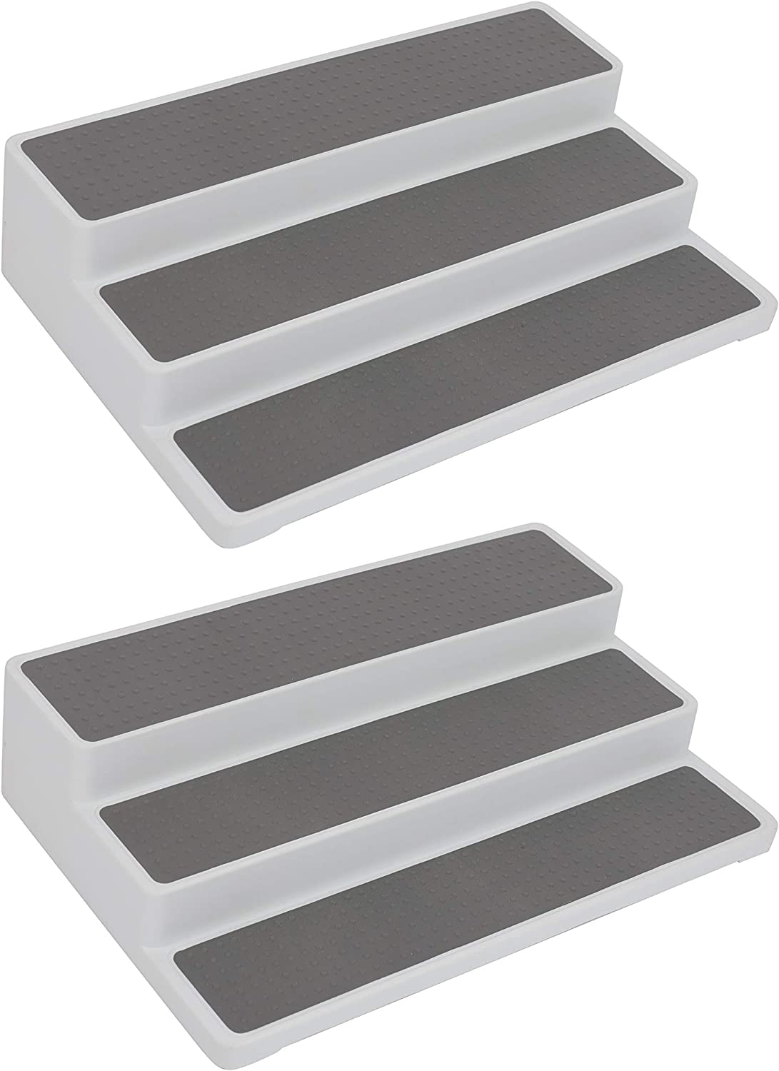 A Latte Joy Spice Rack Organizer for Pantry, Cabinet or Countertop Stand 3 Step Shelf, 2-pack 3-Tier, 14.5-Inch, White/Gray, Waterproof, Non-skid