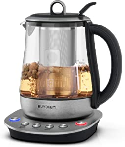 Buydeem K2423 Hot Tea Maker 1.2L, Glass Stainless Steel Electric Kettle, Removable Infuser, Auto Keep Warm, Black