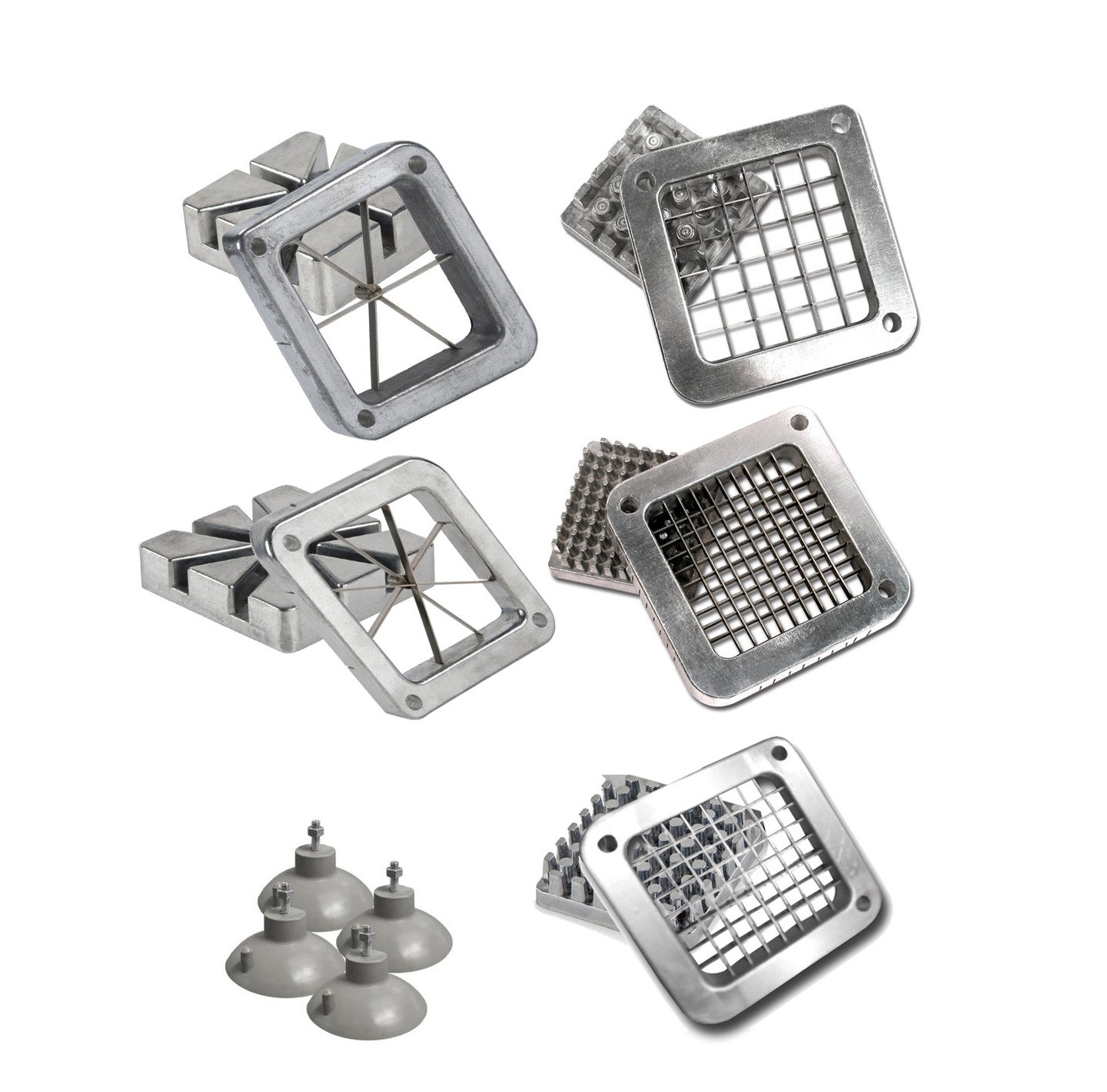Tiger Chef Duty Commercial Grade French Fry Cutter Replacement Blades includes 1/2, 1/4 and 3/8 Dicer Blades and Blocks and 6 plus 8 wedge blades and blocks