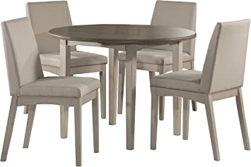 Amazon Com Hillsdale Furniture Hillsdale Clarion Round Drop Leaf Upholstered Chairs Sea White 5 Piece Dining Set Table Chair Sets