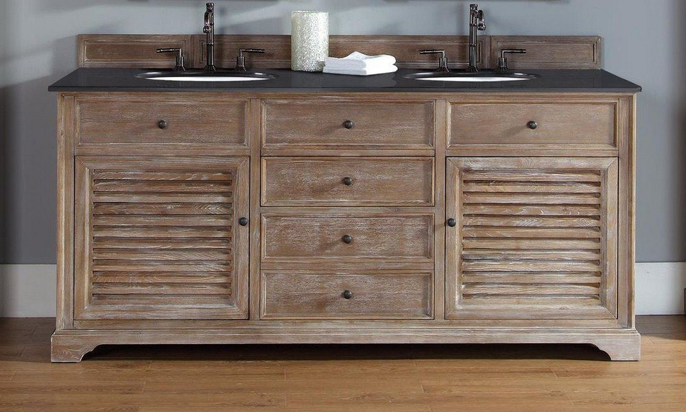 72 in. Double Vanity Cabinet in Driftwood Finish