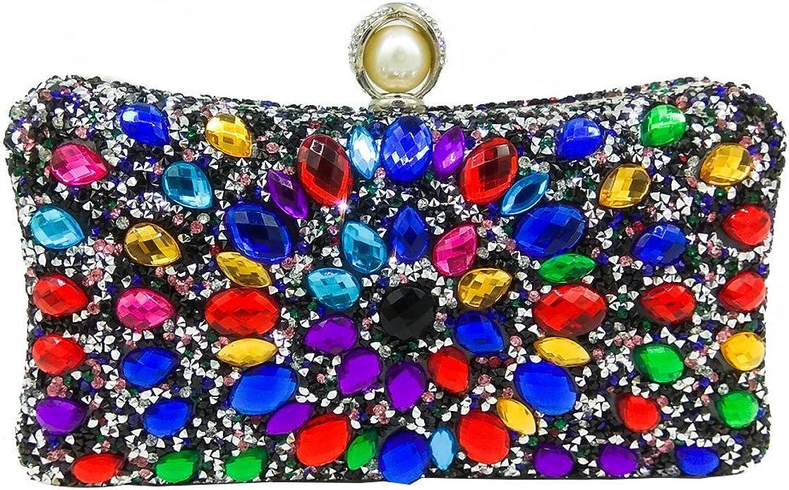 Black Clutch Wedding Evening Bag Vintage Multicolor Silver Metallic Crystal
