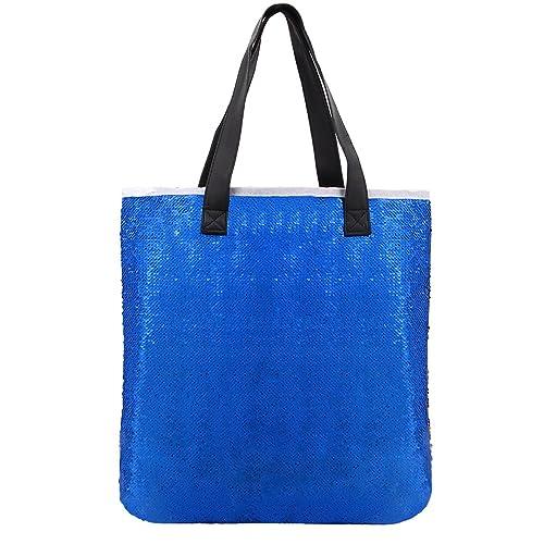 b576d4393c64 Candice Shiny 2 Tone Sequins Paillette Large Tote Bag PU Handbag Shoulder  Bag Mermaid Travel Bag