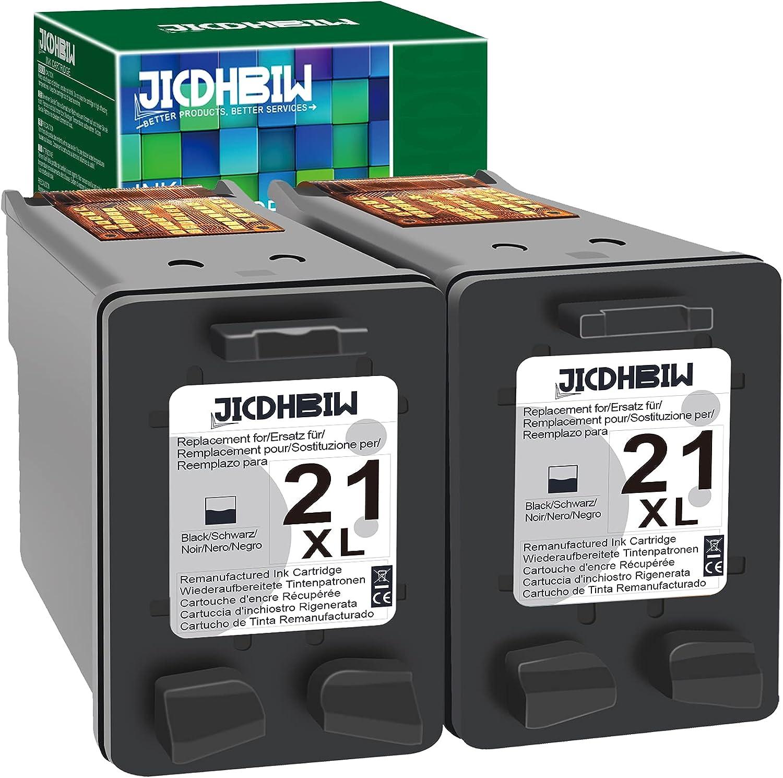 JICDHBIW Remanufactured Ink Cartridge Replacement for HP 21XL 21 XL Black (2 Pack), Work with DeskJet F2210 F4180 F380 F300 F4140 F340 D1455 3940 F335 F4100 OfficeJet 4315 J3680 PSC 1410 Printer