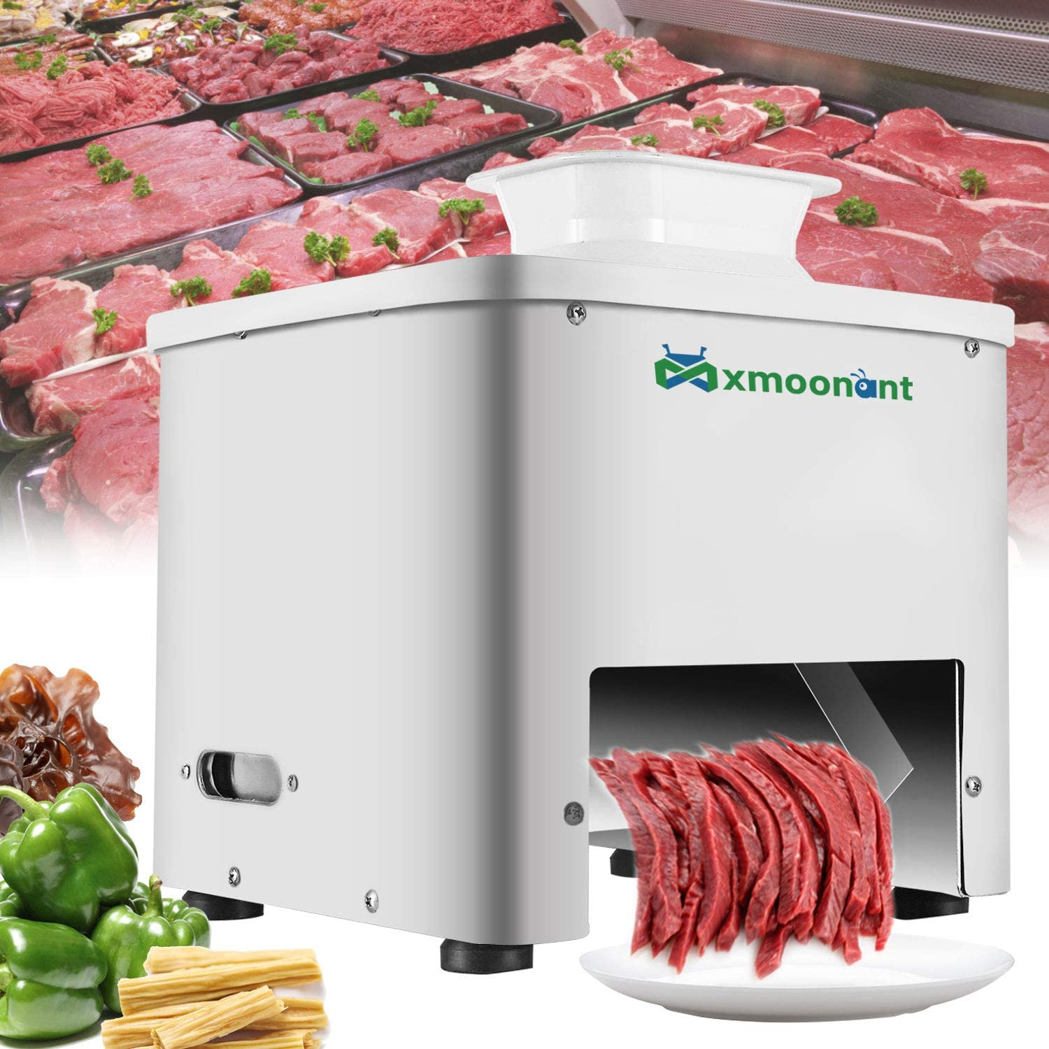 Mxmoonant Meat Cutter Machine 10mm Thickness Commercial Meat Slicer for Restaurant Canteen Supermarket Kitchen 110V US Plug