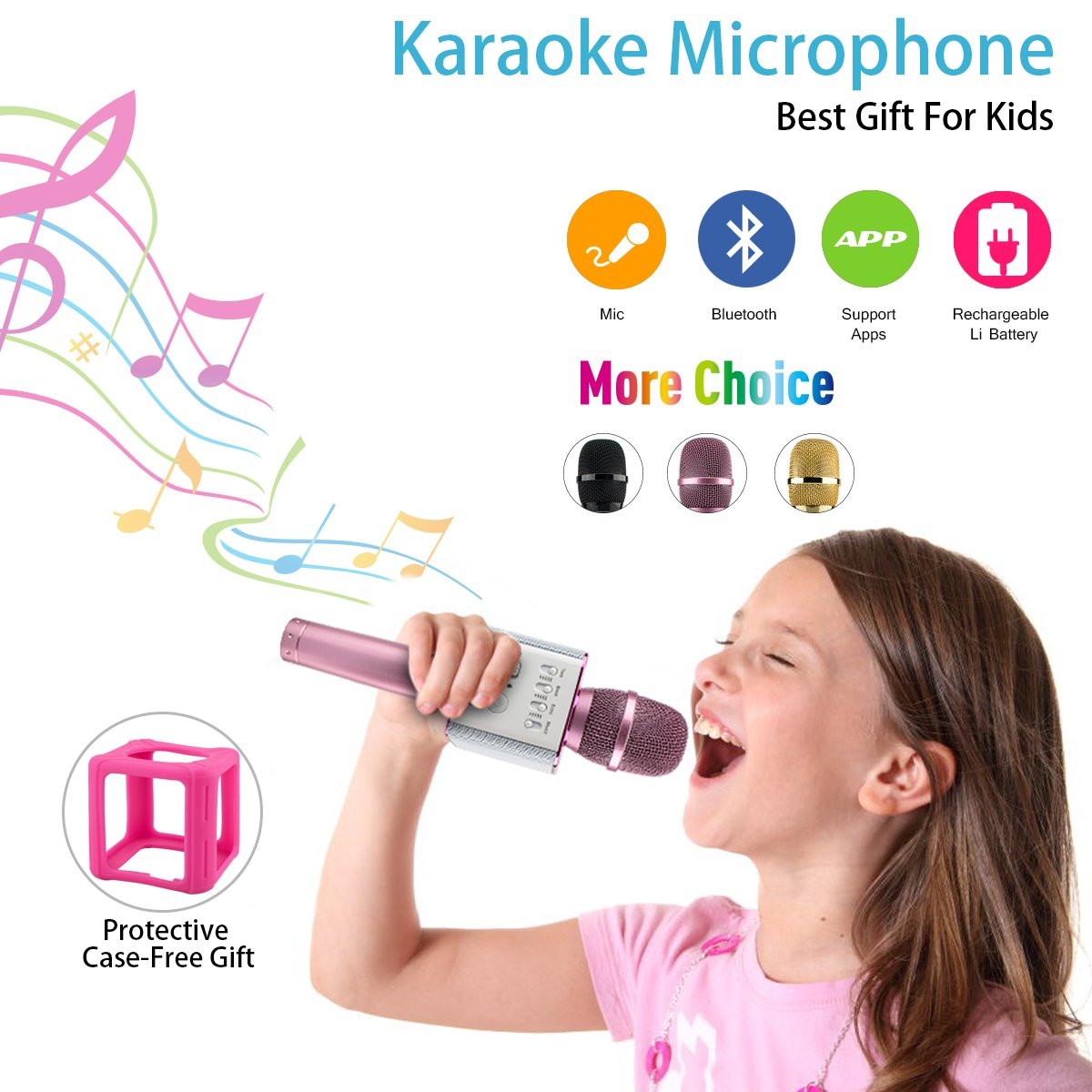 Wireless Kids Karaoke Microphone with Speaker, Portable Bluetooth Microphone Child Karaoke Mic Machine for Kids Adult Singing Party Music Playing, Support iPhone Android Smartphone PC iPad (Pink) Luckymore