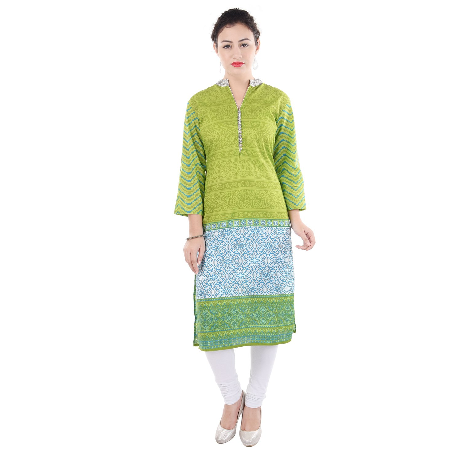 Chichi Women 3/4 Sleeve Tunic Embroidery Top Kurti Blouse (Yellow)(Women's Day Special),Medium,Fire-yellow by CHI (Image #5)