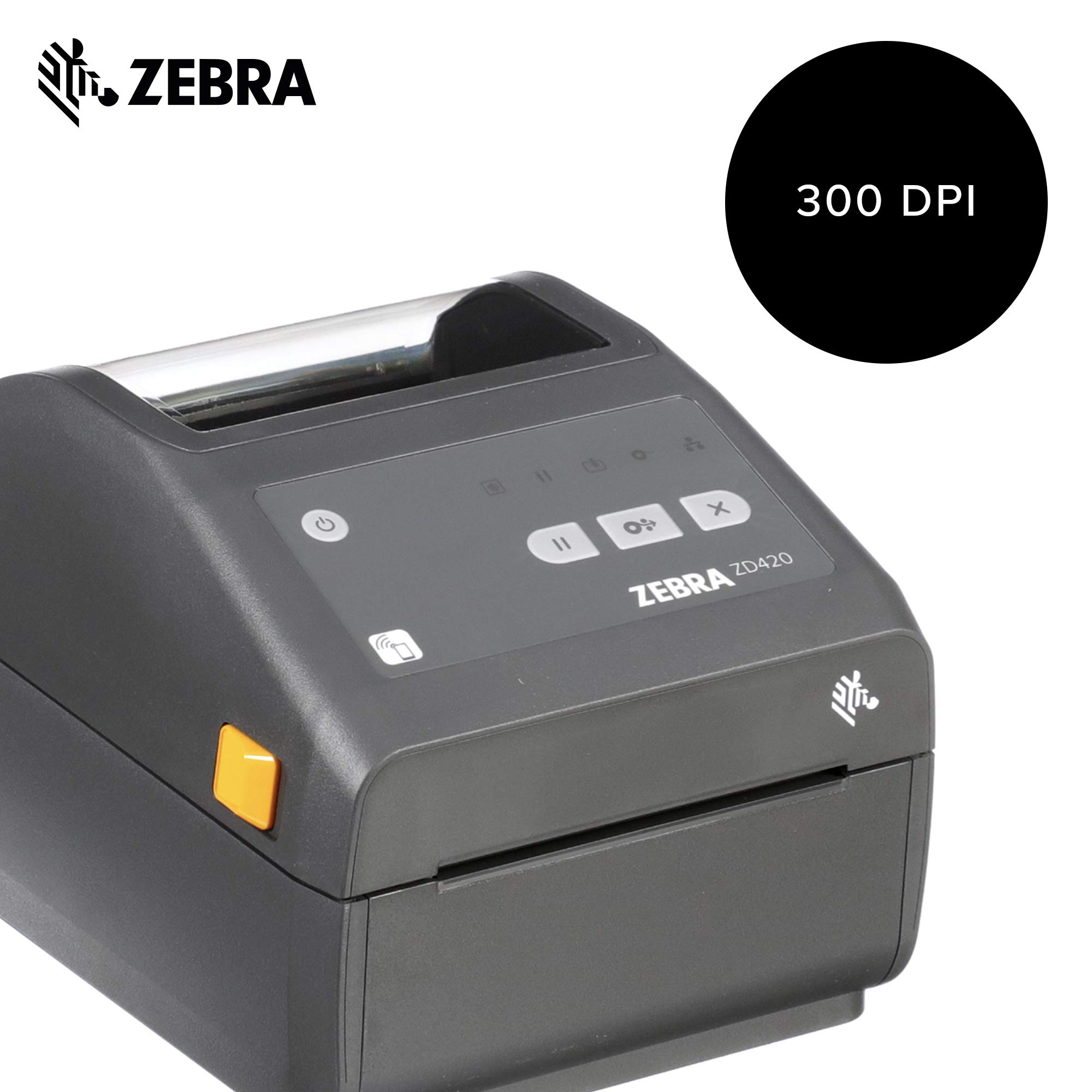 Zebra - ZD420d Direct Thermal Desktop Printer for Labels and Barcodes - Print Width 4 in - 300 dpi - Interface: WiFi, Bluetooth, USB - ZD42043-D01W01EZ by Zebra Technologies (Image #2)
