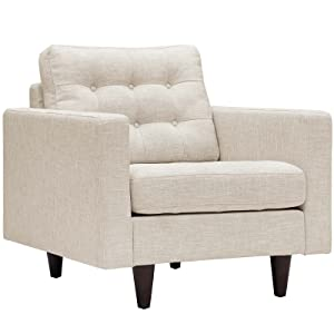 Modway EEI-1013-BEI Empress Mid-Century Modern Upholstered Fabric Accent Arm Lounge Chair Beige