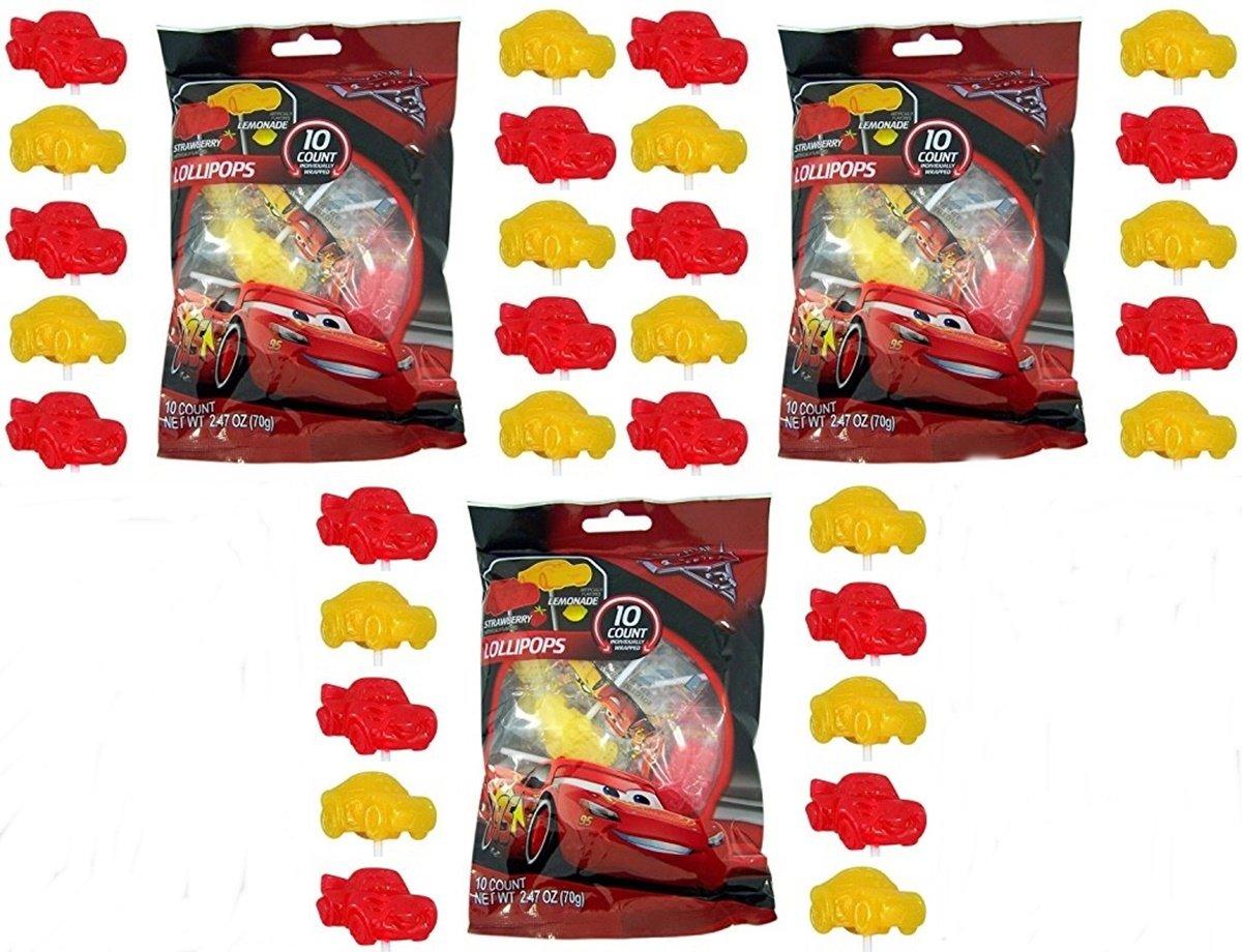 Disney Pixar Cars 3 Lightning McQueen Lollipops, Pack of 3 - 10 Count Bags