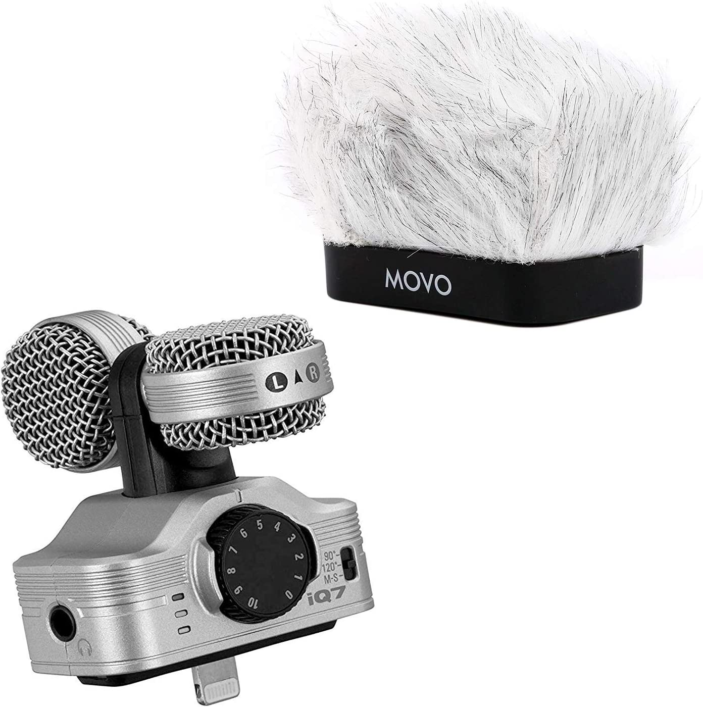 Compatible with iPhone iPad and other iOS Devices Zoom iQ7 Mid-Side Stereo Recording Microphone Bundle with Movo Fitted Deadcat Windscreen
