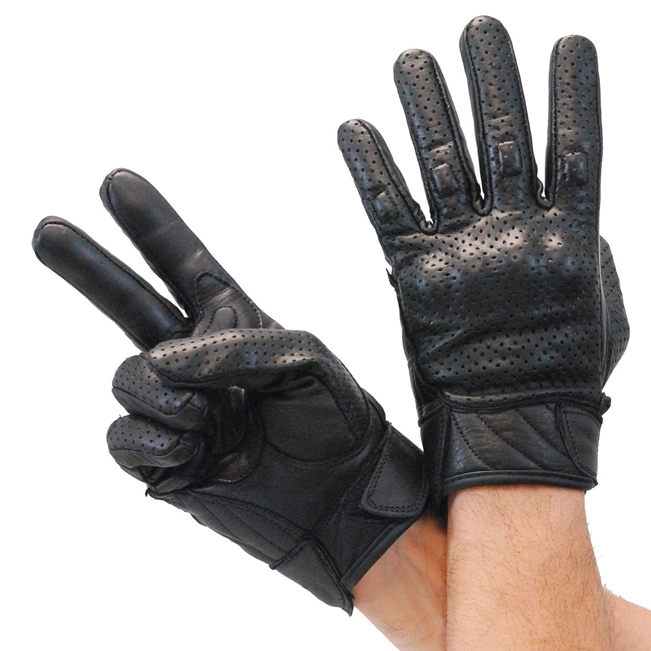 Perforated Leather Riding Glove w//Hard Knuckles /& Pads #G7500KNVK