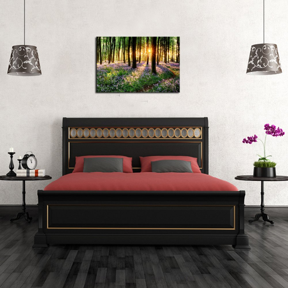 Lavender Canvas Wall Art with Wood Frame Forest in Sunshine Canvas Print Wall Decor Wall Canvas Landscapes Home Decoration Ready to Hang by Sea Charm (Image #3)
