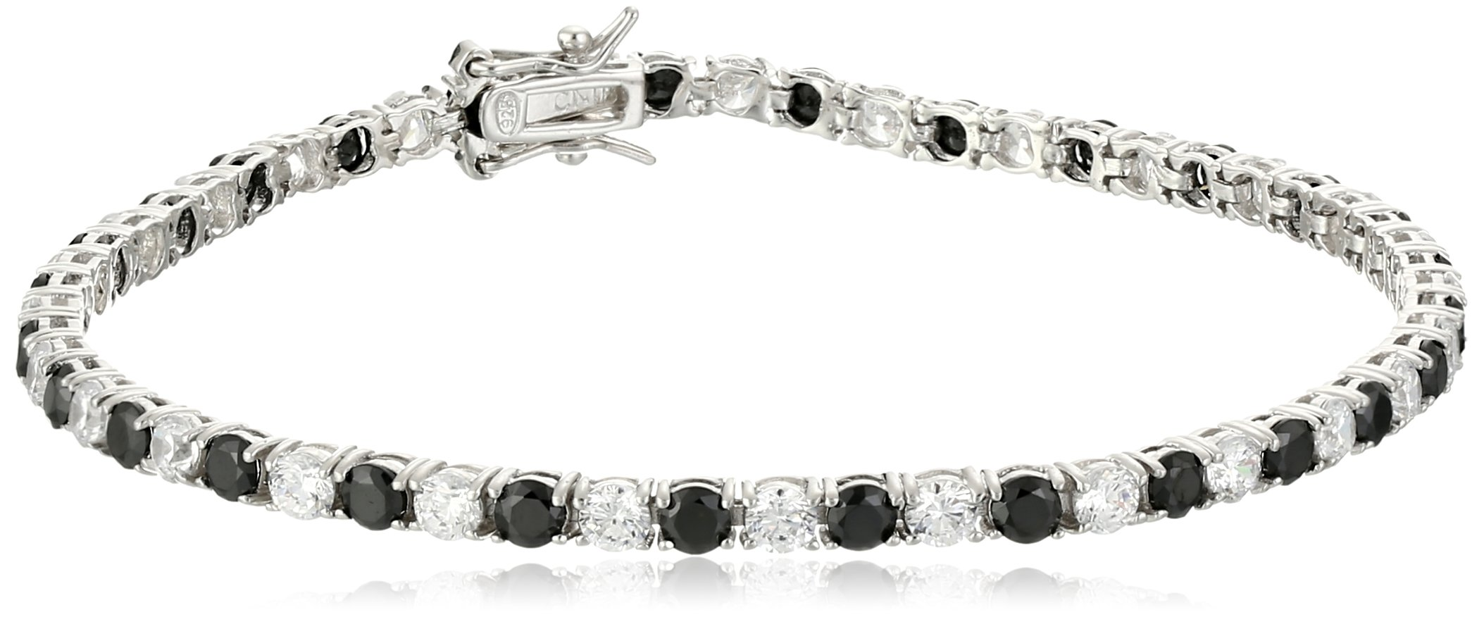 Sterling Silver Alternating Black and White Prong Set AAA Cubic Zirconia Tennis Bracelet, 7.5'' (5.9 cttw)