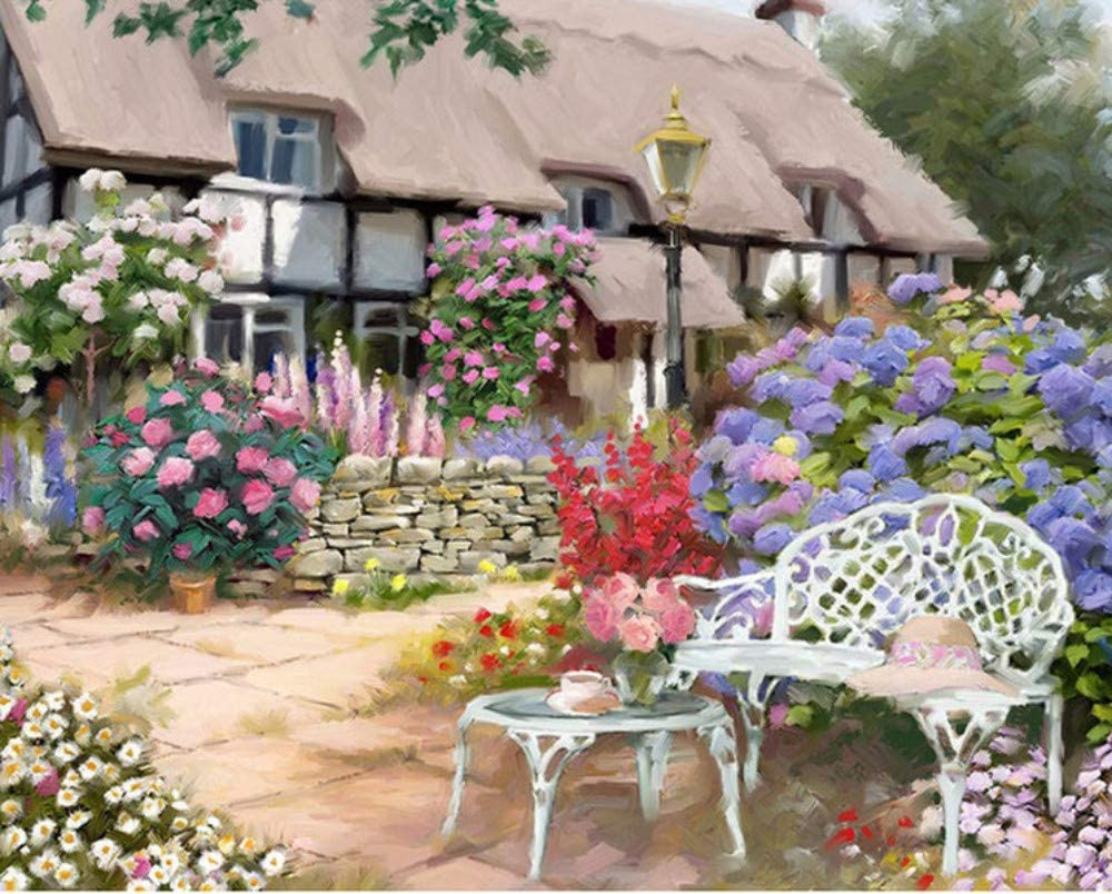 Cottage Door Painting By Numbers Acrylic Canvas Picture Wall Art Home Decoration