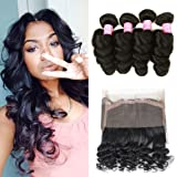 Mink Hair Loose Wave with 360 Frontal 7A Grade Brazilian Loose Wave Bundles Virgin Human Hair Extensions with 360 Free Part Lace Frontal Closure Natural Color